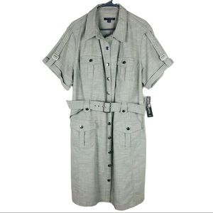 Sharagano green belted pocket button utility dress
